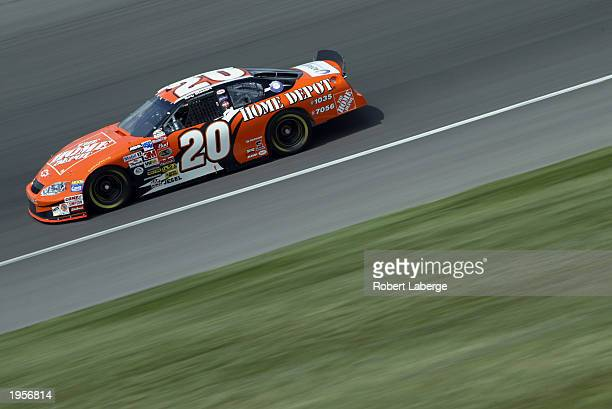 Tony Stewart driver of the Joe Gibbs Racing Home Depot Chevrolet Monte Carlo on track during practice for the NASCAR Winston Cup AUTO CLUB 500 on...