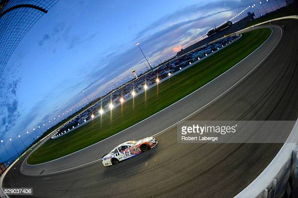 Tony Stewart driver of the Mobil 1 Chevrolet drives during the NASCAR Sprint Cup Series Go Bowling 400 at Kansas Speedway on May 7 2016 in Kansas...