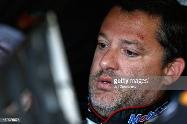 Tony Stewart, driver of the Mobil 1 Chevrolet, sits in his car during practice for the NASCAR Sprint Cup Series Camping World RV Sales 301 at New...