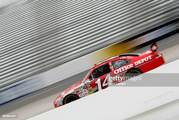 Tony Stewart driver of the Office Depot Chevrolet drives during practice for the NASCAR Sprint Cup Series Goody�s Fast Pain Relief 500 at the...
