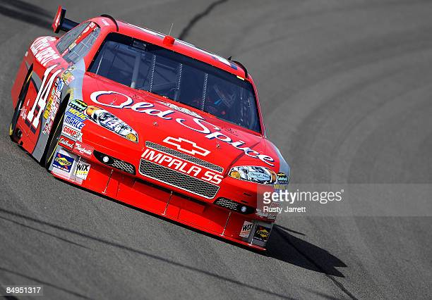 Tony Stewart, driver of the Old Spice/Office Depot Chevrolet drives during practice for the NASCAR Sprint Cup Series Auto Club 500 at Auto Club...