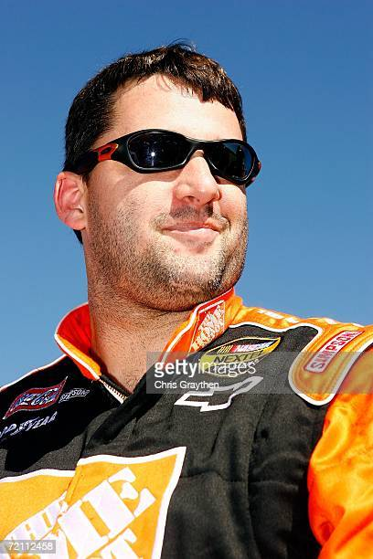Tony Stewart driver of the The Home Depot Chevrolet looks on while waiting to qualifying for the NASCAR Nextel Cup Series Ford 500 on October 7 2006...