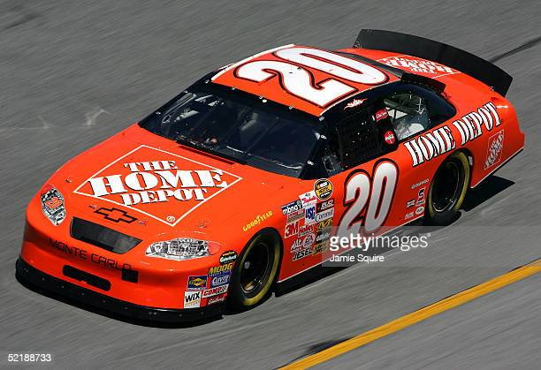 Tony Stewart drives the Joe Gibbs Racing Home Depot Chevrolet during practice for the NASCAR Nextel Cup Daytona 500 on February 12 2005 at the...