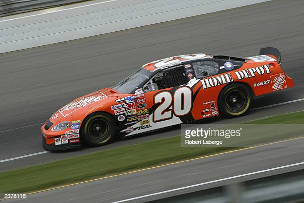 Tony Stewart driving his Joe Gibbs Racing Home Depot Chevrolet practices for the NASCAR Winston Cup Brickyard 400 at the Indianapolis Motor Speedway...