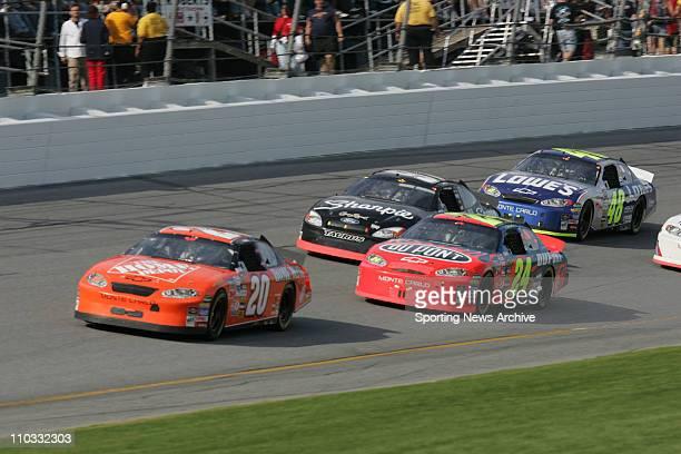 NASCAR Tony Stewart Jeff Gordon Kurt Busch Jimmie Johnson during NEXTEL Cup for the Daytona 500 at Daytona International Speedway in Daytona Fla on...