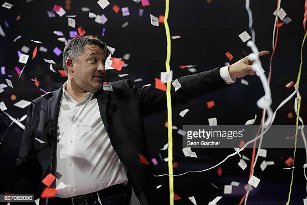 Tony Stewart onstage after confetti flies during NASCAR After The Lap at The Pearl concert theater at Palms Casino Resort on December 1 2016 in Las...