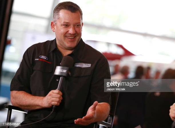 2019 Tony Stewart reacts while giving an interview after being announced as part of the 2020 class during the NASCAR 2020 Hall of Fame announcement...