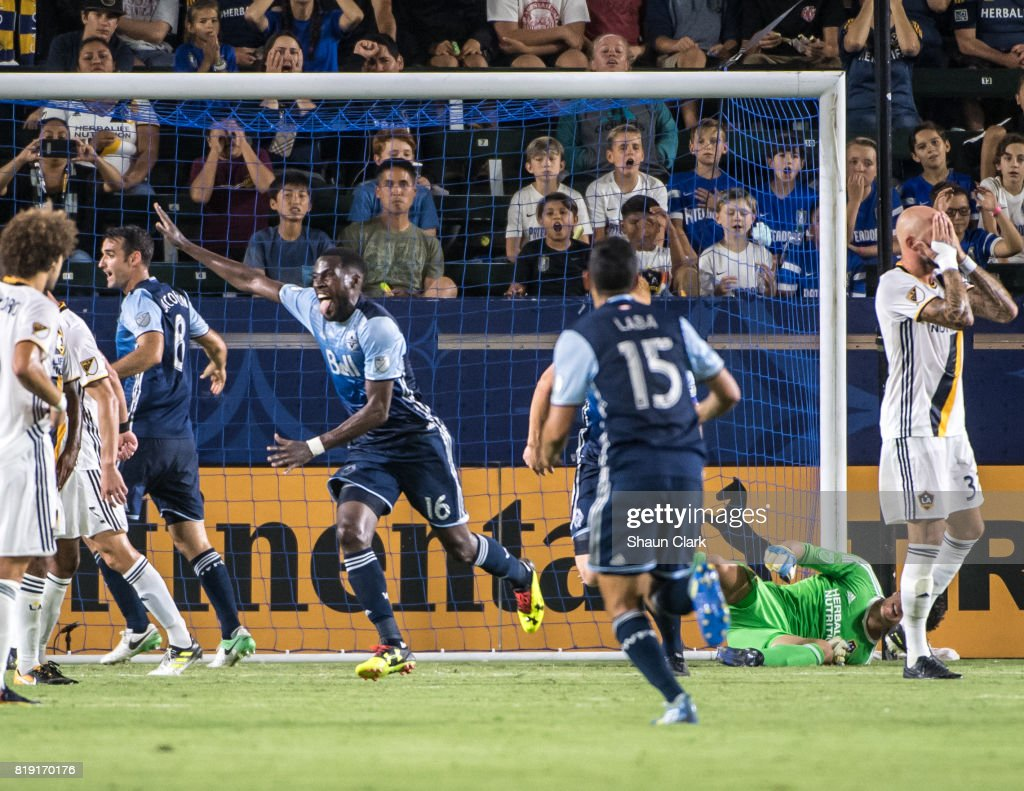 Tony Tchani #16 of Vancouver Whitecaps celebrates his goal during the Los Angeles Galaxy's MLS match against Vancouver Whitecaps at the StubHub Center on July 19, 2017 in Carson, California. Vancouver won the match 1-0