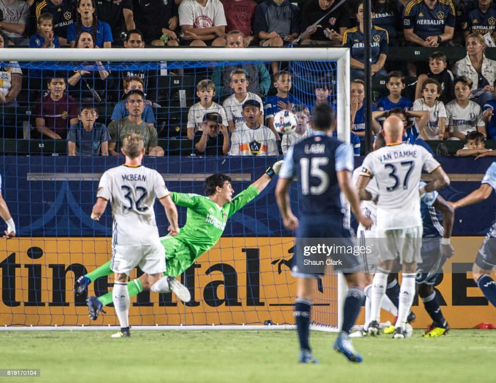 Tony Tchani #16 of Vancouver Whitecaps scores a goal during the Los Angeles Galaxy's MLS match against Vancouver Whitecaps at the StubHub Center on July 19, 2017 in Carson, California. Vancouver won the match 1-0