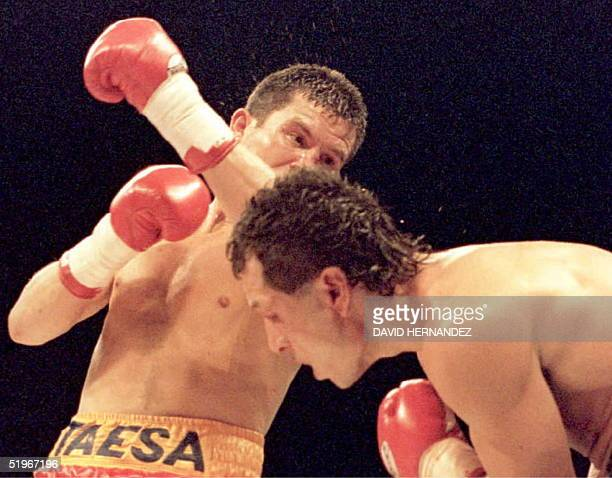 """Tony """"The Tiger"""" Lopez of Sacramento, California, takes a hard left from Julio Cesar Chavez of Mexico in the ninth round of their scheduled 12 round..."""