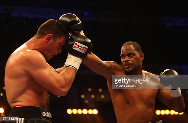 Tony Thompson of USA in action during his WBO heavyweight eleminator fight against Luan Krasniqi of Germany during the Universum Champions Night on...
