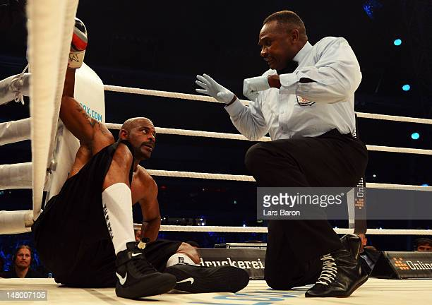 Tony Thompson of USA lies on the floor after a punch of Wladimir Klitschko of Ukraine during the WBA-, IBF,- WBO- and IBO-heavy weight title fight...