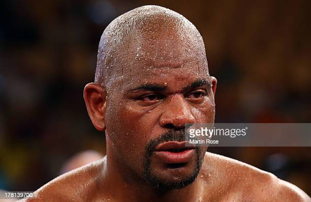 Tony Thompson of USA looks dejected after IBF International heavyweight fight at Sport und Kongresshalle on August 24 2013 in Schwerin Germany
