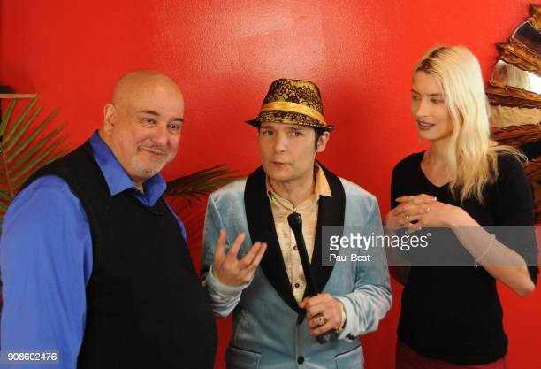 Tony Toscano Corey Feldman and Courtney Anne Mitchell attend the EcoLuxe Lounge Park City on January 21 2018 in Park City Utah