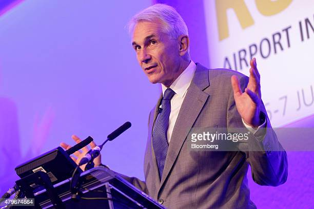 Tony Tyler chief executive officer of International Air Transport Association gestures as he speaks during the Runways UK airport infrastructure...