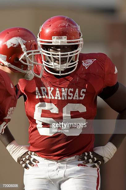 Tony Ugoh of the Arkansas Razorback during a game against the Alabama Crimson Tide at Donald W Reynolds Stadium on September 23 2006 in Fayetteville...