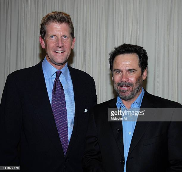 Tony Uphoff and Dennis Miller during Sublime Primetime Writers Guild/THR Emmy nominees panel and Reception in Los Angeles United States