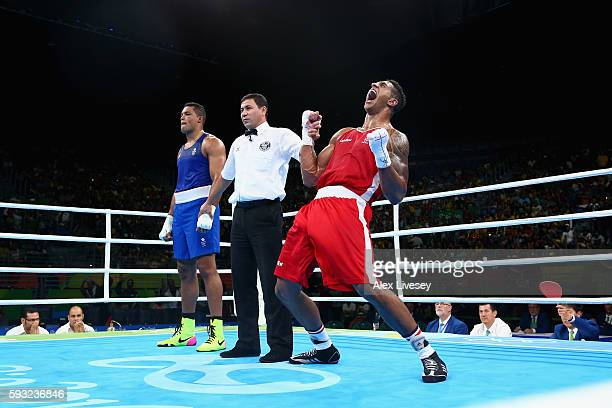 Tony Victor James Yoka of France celebrates victory over Joe Joyce of Great Britain in the Men's Super Heavy Final Bout on Day 16 of the Rio 2016...