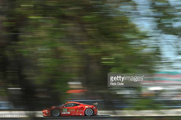 Tony Vilander of Finland drives the Risi Competizione Ferrari 458 Italia during practice for the Intercontinental Le Mans Cup 12 Hours of Sebring at...