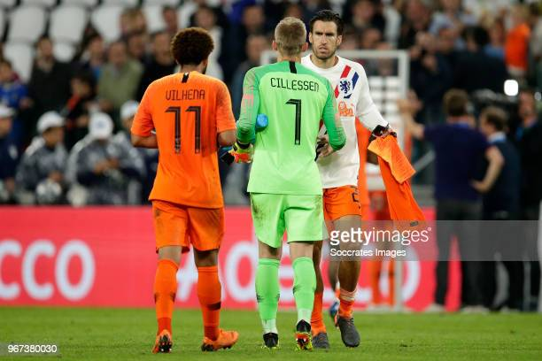 Tony Vilhena of Holland Jasper Cillessen of Holland Kevin Strootman of Holland during the International Friendly match between Italy v Holland at the...