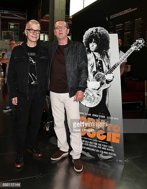 """Tony Visconti and Adrian Sear attend a special screening of the motion picture """"Born to Boogie"""" to celebrate the films release on blu-ray at BFI..."""