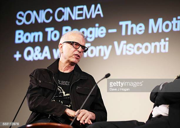 Tony Visconti and Mark Paytress on stage during a special screening of the motion picture 'Born to Boogie' to celebrate the films release on bluray...