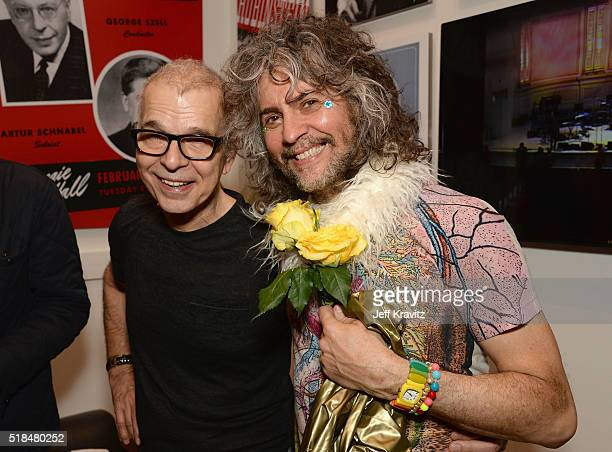 Tony Visconti and Wayne Coyne pose backstage at Michael Dorf Presents - The Music of David Bowie at Carnegie Hall at Carnegie Hall on March 31, 2016...
