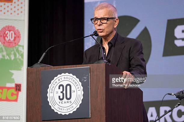 Tony Visconti delivers the keynote speech at SXSW Music 2016 on March 17 2016 in Austin Texas