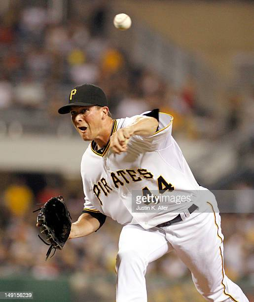 Tony Watson of the Pittsburgh Pirates pitches in relief against the Chicago Cubs during the game on July 23 2012 at PNC Park in Pittsburgh...