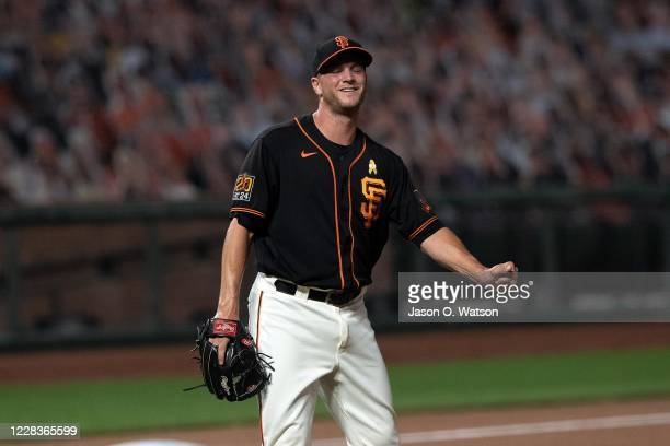 Tony Watson of the San Francisco Giants celebrates after the game against the Arizona Diamondbacks at Oracle Park on September 5 2020 in San...
