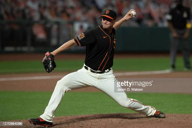 Tony Watson of the San Francisco Giants pitches against the Arizona Diamondbacks during the ninth inning at Oracle Park on September 5 2020 in San...