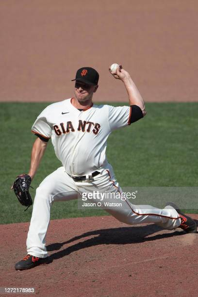 Tony Watson of the San Francisco Giants pitches against the Arizona Diamondbacks during the eighth inning at Oracle Park on September 6 2020 in San...