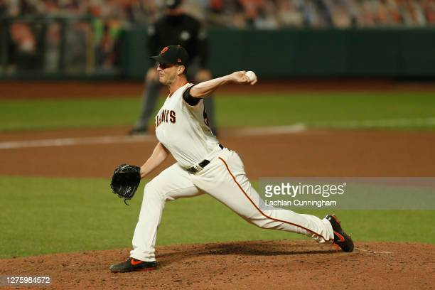 Tony Watson of the San Francisco Giants pitches against the Colorado Rockies at Oracle Park on September 22 2020 in San Francisco California