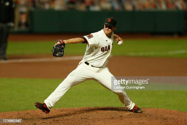 Tony Watson of the San Francisco Giants pitches against the Colorado Rockies at Oracle Park on September 23 2020 in San Francisco California
