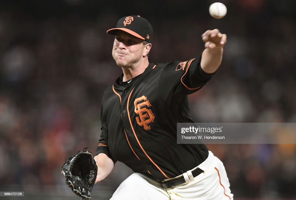 Tony Watson #56 of the San Francisco Giants pitches against the Philadelphia Phillies in the top of the eighth inning at AT&T Park on June 2, 2018 in San Francisco, California.