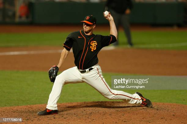 Tony Watson of the San Francisco Giants pitches against the San Diego Padres at Oracle Park on September 26 2020 in San Francisco California