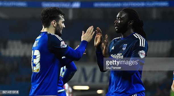 Tony Watt celebrates the second goal with scorer Kenwyne Jones during the Sky Bet Championship match between Cardiff City and Brentford at Cardiff...