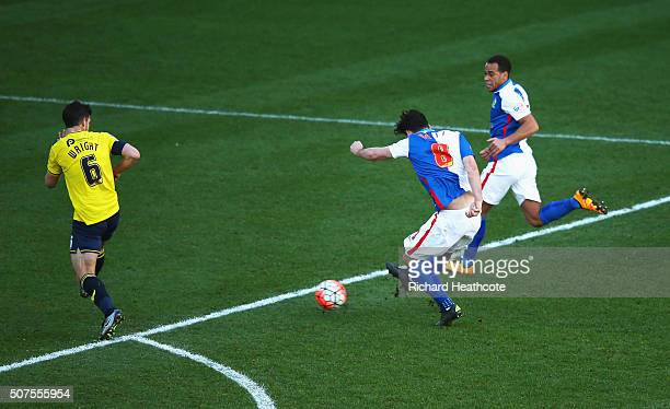 Tony Watt of Blackburn Rovers scores his team's second goal during The Emirates FA Cup fourth round match between Oxford United and Blackburn Rovers...