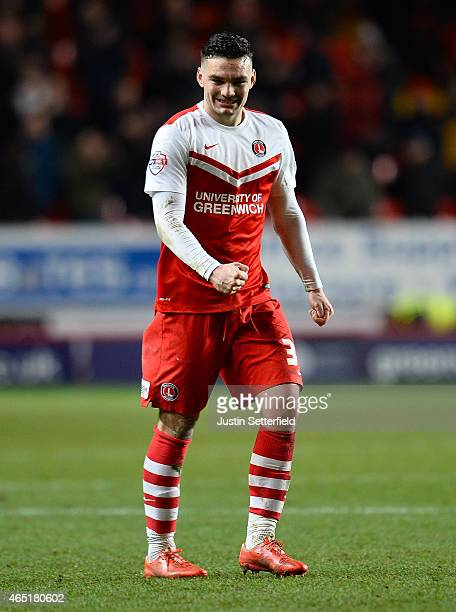 Tony Watt of Charlton Athletic celebrates after the final whistle in the Sky Bet Championship match between Charlton Athletic and Nottingham Forest...