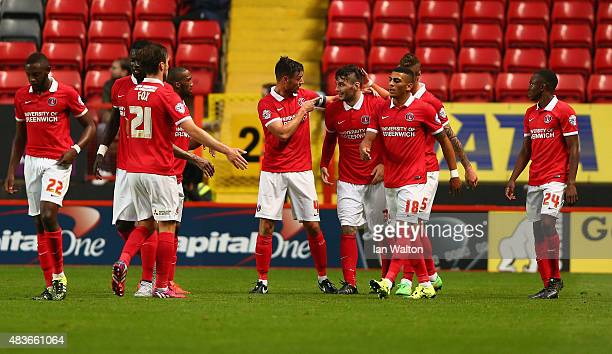 Tony Watt of Charlton Athletic celebrates scoring a goal during the Capital One Cup First Round match between Charlton Athletic v Dagenham Redbridge...