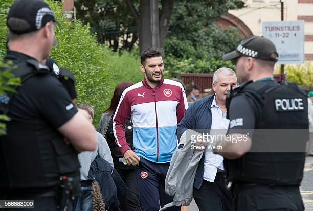 Tony Watt of Hearts arrives at Tynecastle Stadium Edinburgh before the Ladbrokes Scottish Premiership match between Hearts and Celtic at Tynecastle...