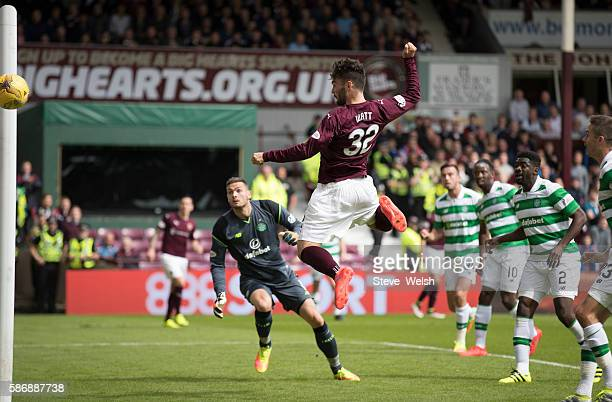Tony Watt of Hearts misses a chance to score during the Ladbrokes Scottish Premiership match between Hearts and Celtic on August 7 2016 in Glasgow...