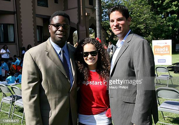 Tony White actress Madison Pettis and Jumpstart executive director Gary Jimenez attend Jumpstart's Read For The Record at the Doheny Campus of Mt St...
