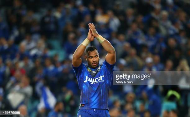 Tony Williams of the Bulldogs celebrates winning the round 17 NRL match between the Canterbury Bulldogs and the Manly Sea Eagles at ANZ Stadium on...