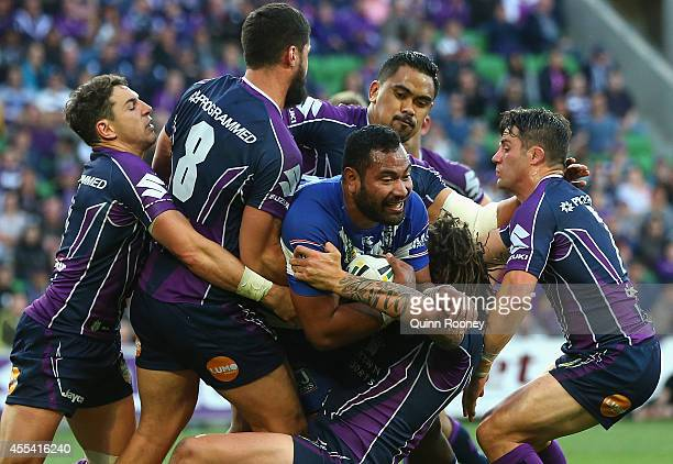 Tony Williams of the Bulldogs is tackled during the NRL 2nd Elimination Final match between the Melbourne Storm and the Canterbury Bankstown Bulldogs...