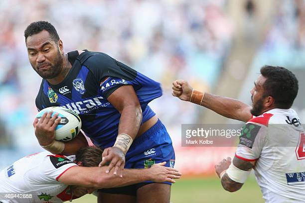 Tony Williams of the Bulldogs is tackled during the round six NRL match between the St George Illawarra Dragons and the Canterbury Bulldogs at ANZ...
