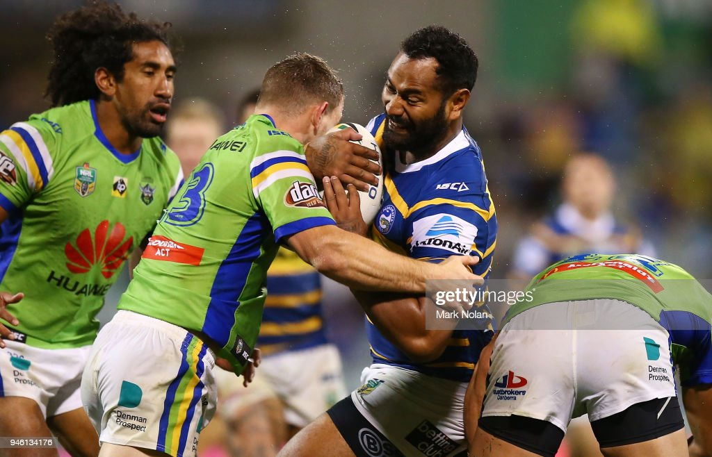 Tony Williams of the Eels is tackled during the round six NRL match between the Canberra Raiders and the Parramatta Eels at GIO Stadium on April 14, 2018 in Canberra, Australia.