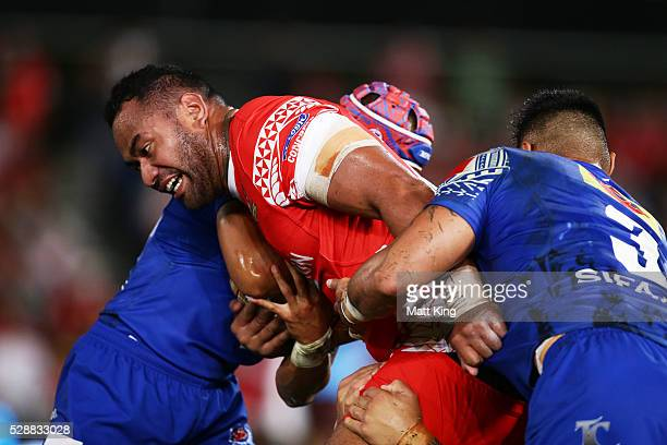 Tony Williams of Tonga is tackled during the International Rugby League Test match between Tonga and Samoa at Pirtek Stadium on May 7 2016 in Sydney...