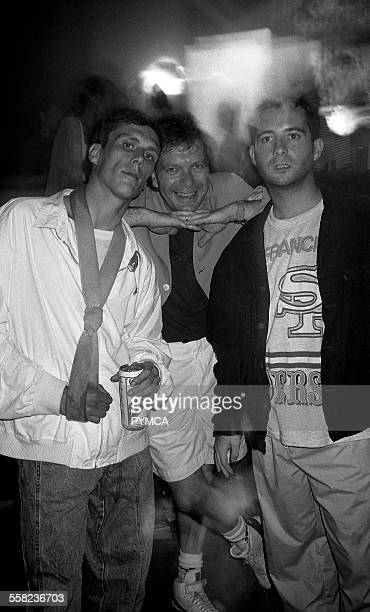Tony Wilson Factory Records Boss Bez and Paul Ryder from the Happy Mondays The Hacienda Manchester 1989