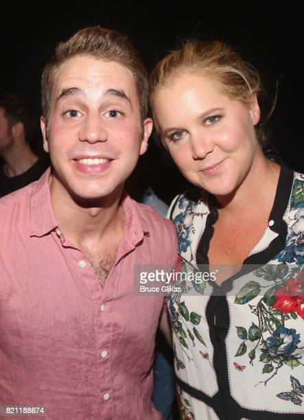 Tony Winner Ben Platt and Amy Schumer pose backstage at the hit musical 'Dear Evan Hansen' on Broadway at The Music Box Theatre on July 22 2017 in...
